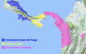 Vermiculated and Choco-Screech-Owl Range Map